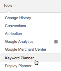 Click the Tools menu with Adwords to access the Keyword Planner