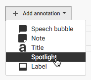 Select one of the options to add an annotation to your video