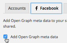Tick the option to add Open Graph meta data