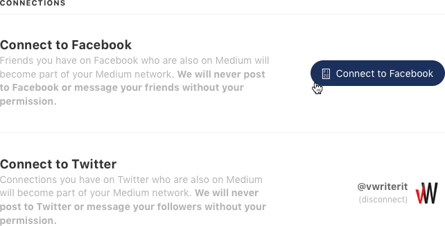 Connect Medium with your Facebook and Twitter accounts