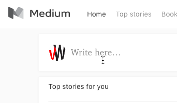 You can start writing new content straight from Medium's home page