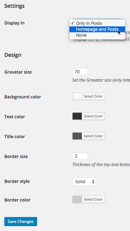 Available settings for the Author Bio Box plugin