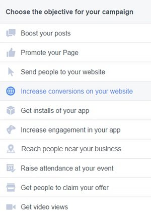 Set the objective for your advertising campaign on Facebook