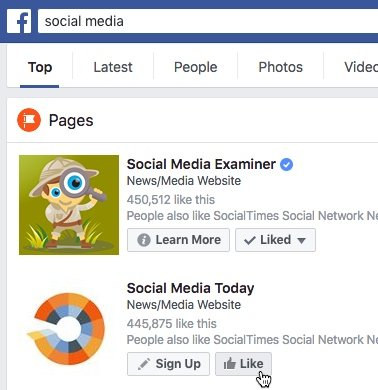 Use Facebook to search for relevant Pages to follow