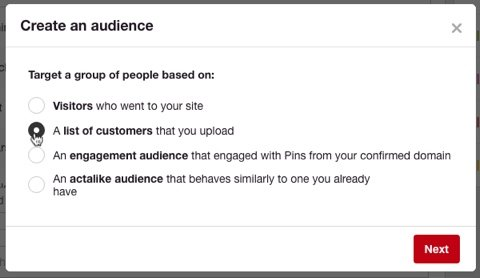 Pinterest options for creating an audience