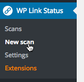 Click New scan from the WP Link Status menu